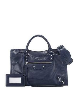 Balenciaga Classic City Lambskin Shoulder Bag, Blue $1,835 thestylecure.com