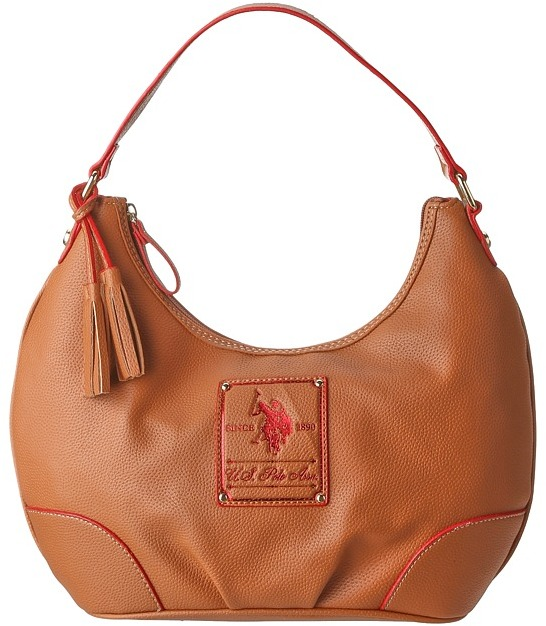 U.S. Polo Assn. Ascot Hobo (Saddle/Red) - Bags and Luggage