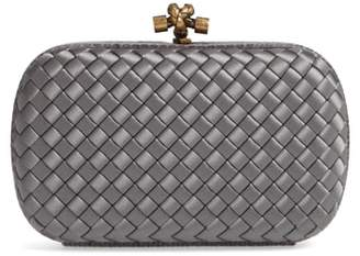 Bottega Veneta Intreccio Knot Satin & Genuine Snakeskin Clutch