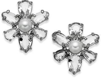 Kate Spade Silver-Tone Crystal & Imitation Pearl Flower Stud Earrings