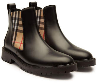Burberry Leather Ankle Boots with Check Printed Fabric