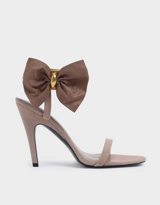 Charles & Keith Oversized Bow Open Toe Heeled Sandals