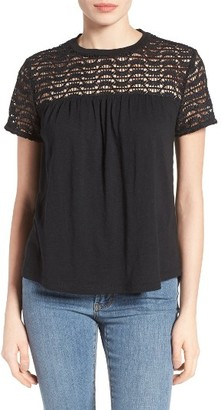 Petite Women's Caslon Lace Yoke Knit Top $45 thestylecure.com