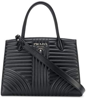Prada Diagramme quilted tote