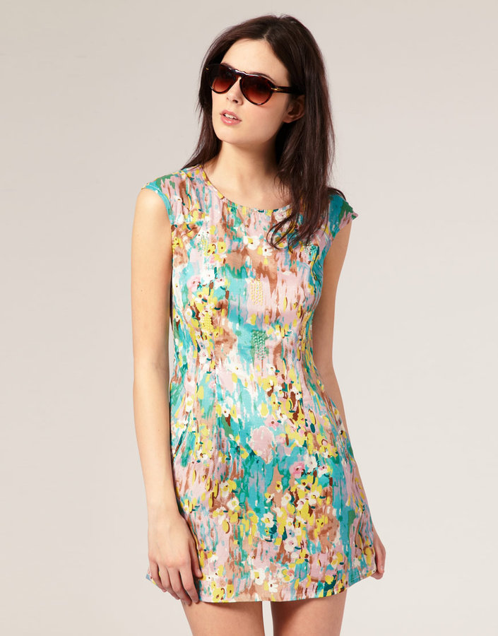 River Island Abstract Floral Shift Dress