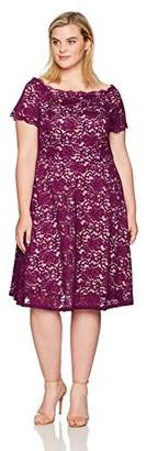 Adrianna Papell Women's Size Plus Lace Midi Fit and Flare