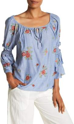 Max Studio Striped Floral Embroidered Blouse