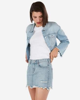 Express Mid Rise Medium Wash Distressed Mini Jean Skirt