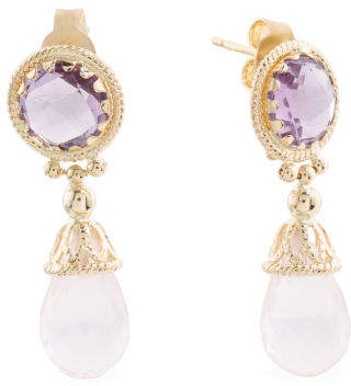 Made In Italy 14k Gold Amethyst And Rose Quartz Earrings