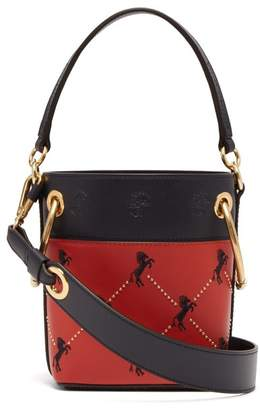 Chloé Roy Little Horse Embroidered Leather Bucket Bag - Womens - Red Multi