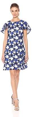 Calvin Klein Women's Floral lace Flutter Sleeve Caplet Dress