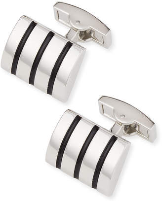 Bugatchi Rounded Enamel Striped Cuff Links