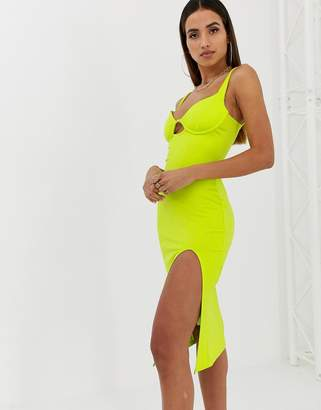 Parallel Lines bodycon midi dress with structured bralet