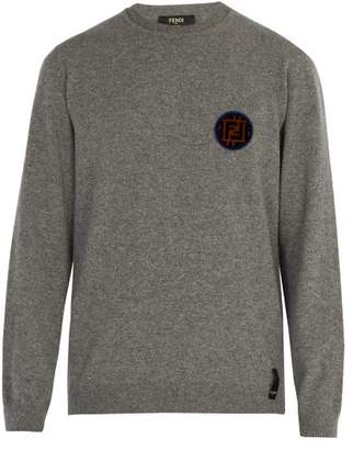 Fendi Ff Patch Crew Neck Cashmere Sweater - Mens - Grey