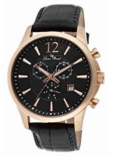 Lucien Piccard Men's 11567-RG-01 Adamello Gold-Tone Watch with Leather Band