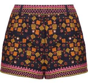 Antik Batik Sharlen Sequin-Embellished Embroidered Cotton-Gauze Shorts