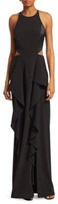 Halston Crepe Cut-Out Evening Gown