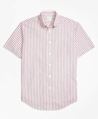Brooks Brothers Milano Fit Triple Stripe Seersucker Short-Sleeve Sport Shirt