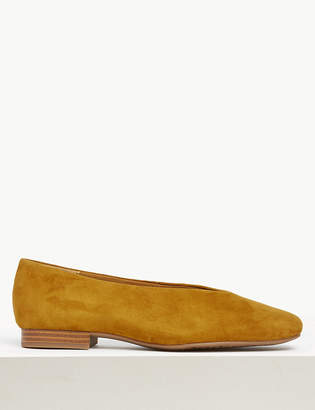 Marks and Spencer High Cut Suede Ballet Pumps