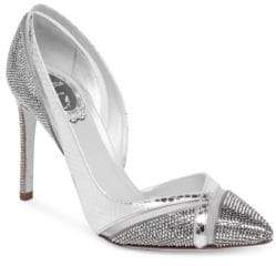 Rene Caovilla Ayers Snake Leather, Crystal& Mesh Point-Toe Pumps