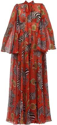 Dolce & Gabbana Silk Chiffon Gown Red
