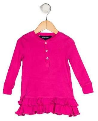 Ralph Lauren Girls' Rib Knit Ruffle Dress