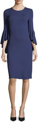 Michael Kors Cascade-Sleeve Stretch Matte Jersey Sheath Dress
