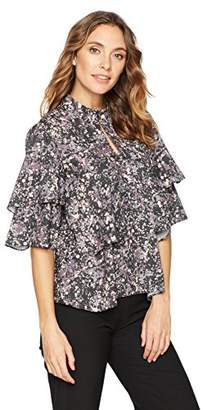 Suite Alice Women's 3/4 Sleeve Ruffle Woven Blouse