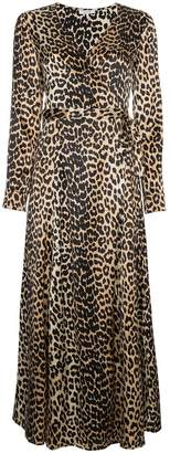Ganni Dufort Silk Leopard Print Wrap Dress