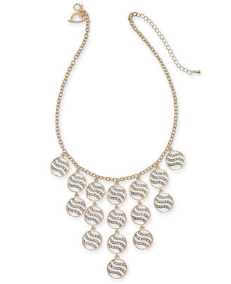 "Thalia Sodi Gold-Tone Crystal Tiger Stripe Disc Statement Necklace, 16"" + 3"" extender"