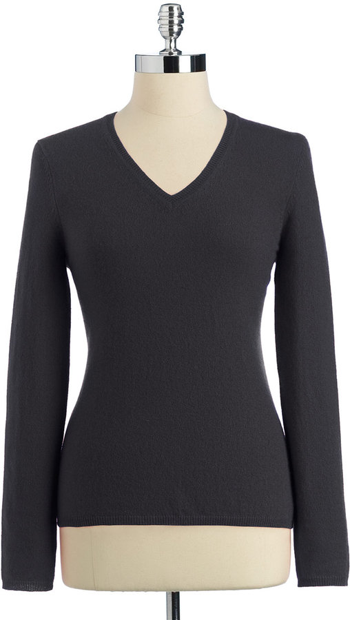 Lord & Taylor Classic Neutrals Cashmere Long Sleeve V-Neck Pullover Sweater