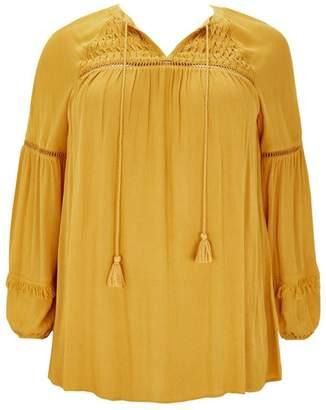 Next Womens Evans Mustard Crochet Detail Top