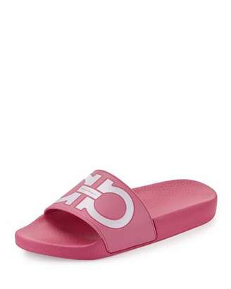 Salvatore Ferragamo Groove Gancini Flat Slide Sandal, Bubble/Bianco $195 thestylecure.com