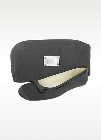 Marc Jacobs Black Silk and Grosgrain Ballerina Shoes
