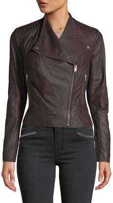 Andrew Marc Pelham Asymmetrical Zip Leather Scuba Jacket