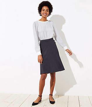 LOFT Button Trim Midi Skirt