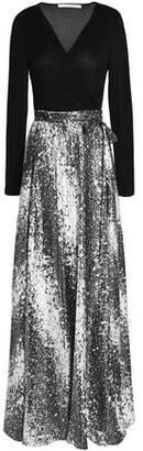 Diane von Furstenberg Paneled Metallic Jacquard And Silk-Blend Maxi Dress