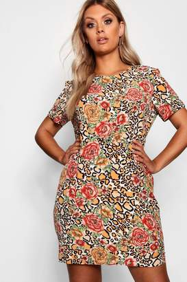 boohoo Plus Animal Floral Shift Dress