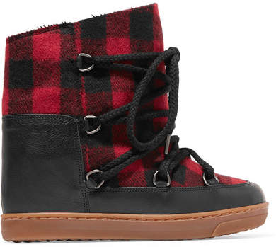 Isabel Marant - Nowles Shearling-lined Leather-trimmed Plaid Wool Boots - Black