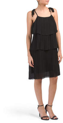 Juniors Tiered Pleated Dress