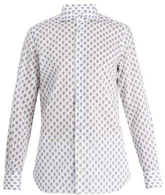 Finamore 1925 - Floral Print Spread Collar Cotton Shirt - Mens - Blue White