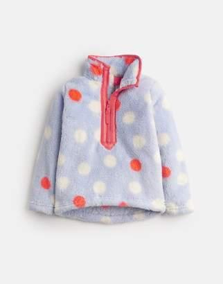Joules SKY BLUE MULTI SPOT Merridie Fluffy Fleece Sweatshirt 1-12yr Size 3yr