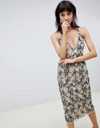 4d5d6b103c Asos Design DESIGN Floral embroidered mesh cami plunge pencil dress