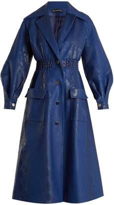 Crocodile-effect faux-leather coat