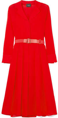Akris Belted Wool-crepe Midi Dress - Red