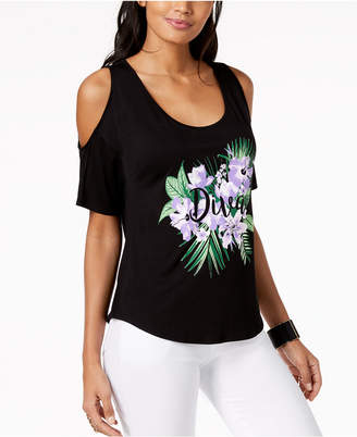 Thalia Sodi Floral Graphic Cold-Shoulder Top, Created for Macy's
