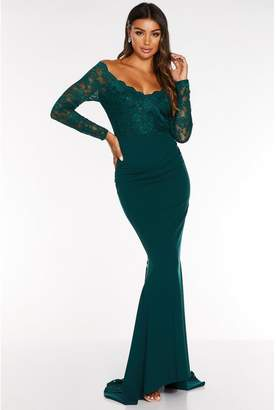 Quiz Navy Bardot Lace Fishtail Maxi Dress