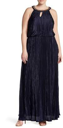 Chetta B Embellished Keyhole Blouson Gown (Plus Size Available)