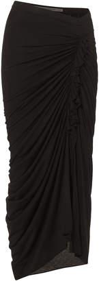 Rick Owens Lilies Ruched Ruffled Midi Skirt