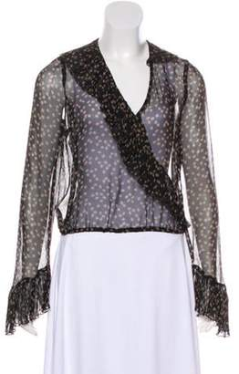 Anna Sui Ruffle-Accented Printed Blouse Black Ruffle-Accented Printed Blouse